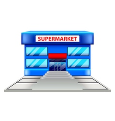 Supermarket building isolated on white vector image