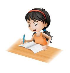 A girl writing vector image vector image