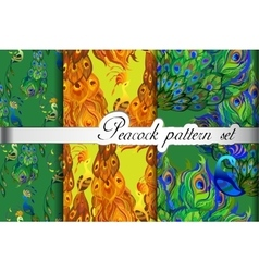 Abstract seamless patterns set gold green peacock vector image vector image