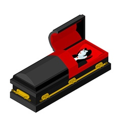 Dracula in coffin Vampire Count in an open coffin vector image