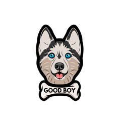 husky dog with bone good boy lettering vector image