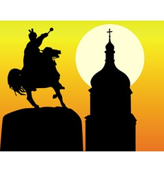 khmelnytsky monument and tower of the church in ki vector image vector image