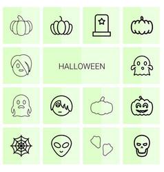14 halloween icons vector