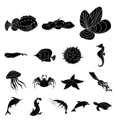 A variety of marine animals black icons in set vector