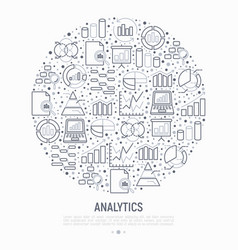 analytics concept in circle with thin line icons vector image