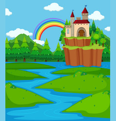 Background scene with castle towers and river vector