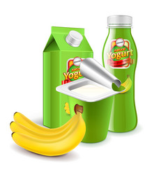 banana yogurt packagings 3d photo realistic vector image