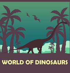 Banner world of dinosaurs prehistoric world vector