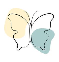 Beautiful butterfly in line art style vector
