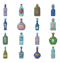 bottles icons set cartoon style vector image