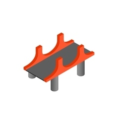 Bridge with red pillars icon in isometric 3d style vector image