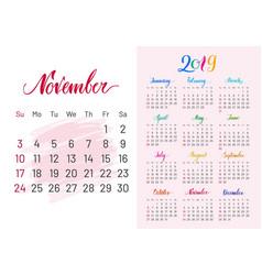Calendar 2019 november separately white-pink vector