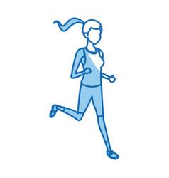 character girl sport runner fitness vector image