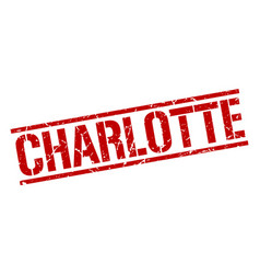 Charlotte red square stamp vector