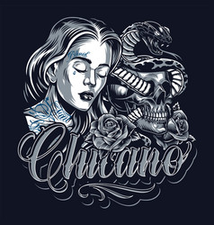 Chicano tattoo vintage template vector