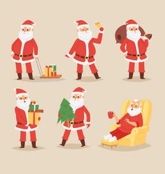 christmas santa claus character poses vector image