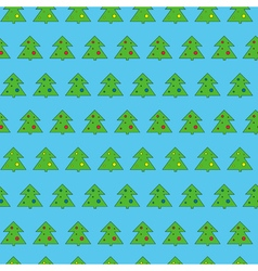 Christmas tree seamless pattern on blue background vector image