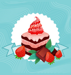 colorful cake sweet beautiful dessert delicious vector image