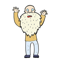 Comic cartoon frightened old man with beard vector