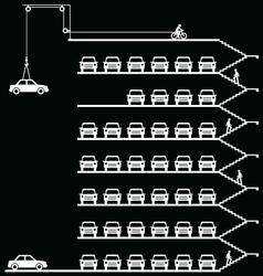 Comical car park vector