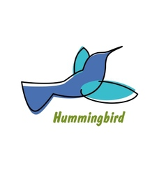 Contoured blue hummingbird in flight logo vector image
