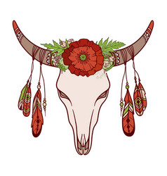 Cow skull decorated with flowers vector