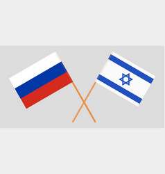 Crossed flags israel and russia vector