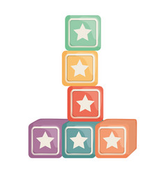 Cubes blocks with stars toys entertainment square vector