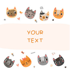 cute background for text with cats vector image
