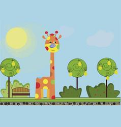 Cute cartoon funny giraffe walking in th vector