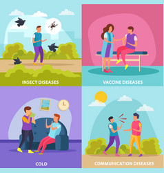 Diseases transmission ways 2x2 design concept vector