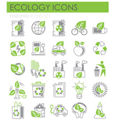 Ecology icons green and grey set on white vector