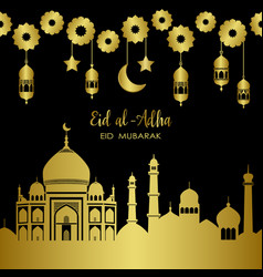 Eid al-adha golden town holiday template vector