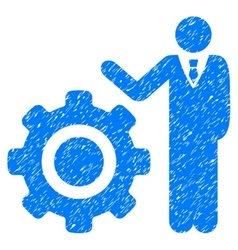 Engineer And Gear Grainy Texture Icon vector image