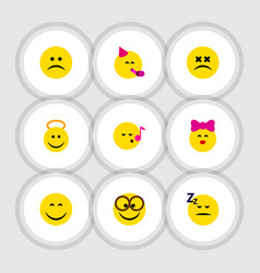 Flat icon expression set of sad descant pleasant vector