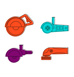 Flex icon set color outline style vector