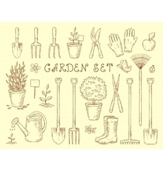 garden tools set vector image