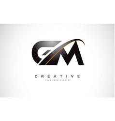 Gm g m swoosh letter logo design with modern vector
