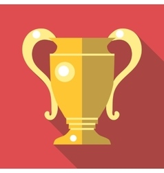 Gold trophy cup icon flat style vector