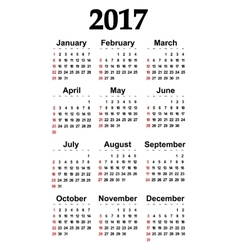 Great new wall calendar 2017 vector image