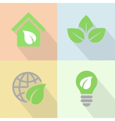 Green energy icons poster flat vector image