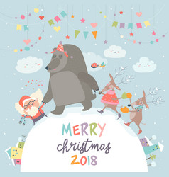 Happy santa reindeers and bear celebrating vector