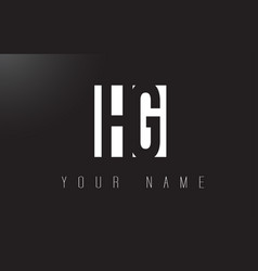 hg letter logo with black and white negative vector image