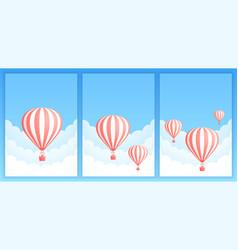 hot air balloon cloud scape promo banner template vector image