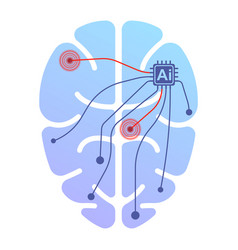 Icon of a human brain running by artificial vector
