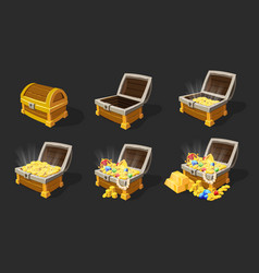 isometric treasure chests animation set vector image