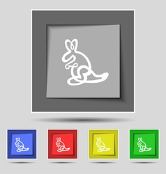 Kangaroo Icon sign on original five colored vector