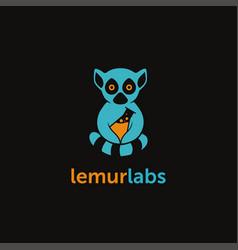 lemur beaker laboratory logo on black background vector image