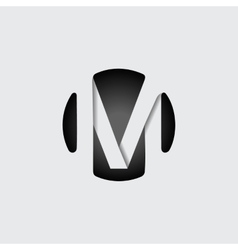 Letter m made wide white stripes vector