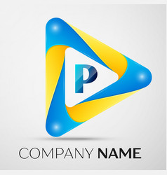 Letter p symbol in the colorful triangle vector